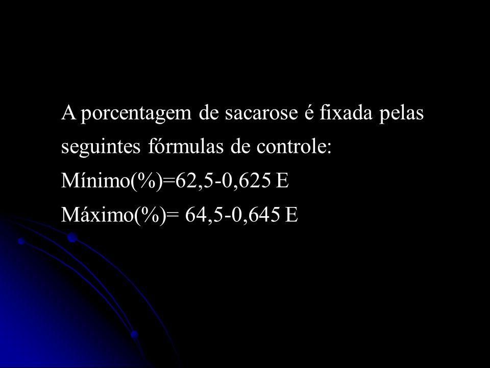 A porcentagem de sacarose é fixada pelas seguintes fórmulas de controle: Mínimo(%)=62,5-0,625 E Máximo(%)= 64,5-0,645 E
