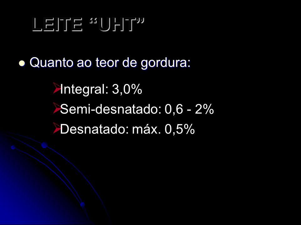 LEITE UHT Quanto ao teor de gordura: Quanto ao teor de gordura: Integral: 3,0% Semi-desnatado: 0,6 - 2% Desnatado: máx.