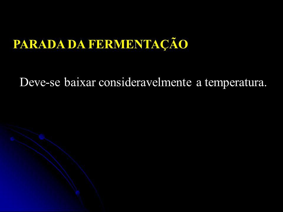 PARADA DA FERMENTAÇÃO Deve-se baixar consideravelmente a temperatura.