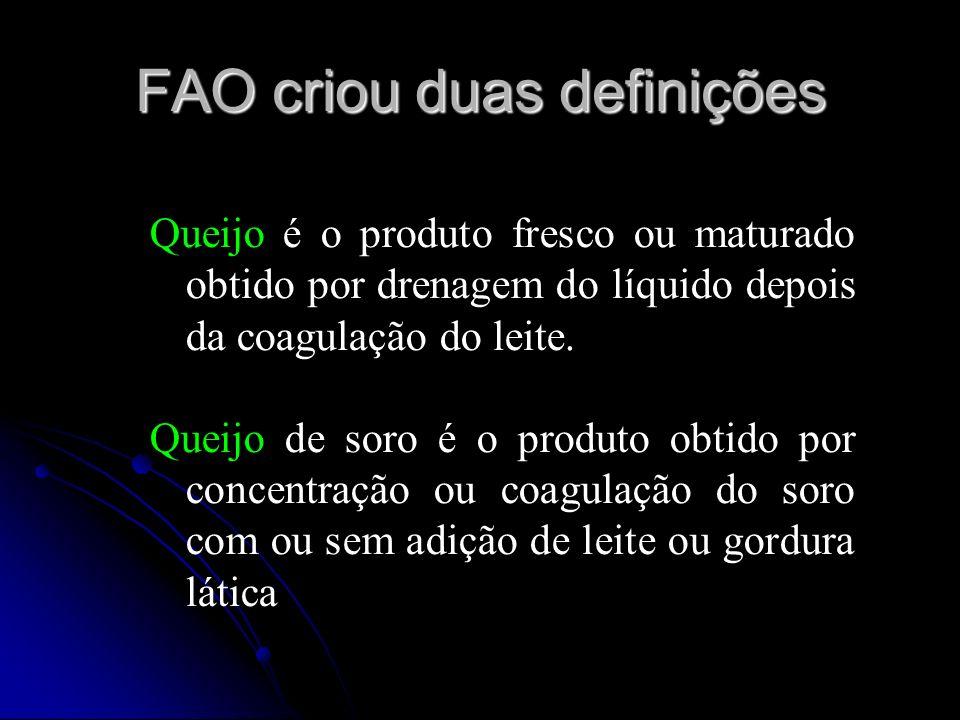 FAO criou duas definições Queijo é o produto fresco ou maturado obtido por drenagem do líquido depois da coagulação do leite.