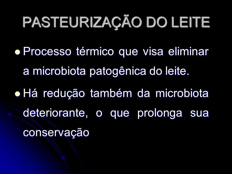 PASTEURIZAÇÃO DO LEITE Processo térmico que visa eliminar a microbiota patogênica do leite.