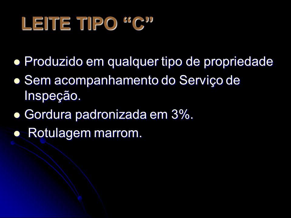 LEITE TIPO C Produzido em qualquer tipo de propriedade Produzido em qualquer tipo de propriedade Sem acompanhamento do Serviço de Inspeção.