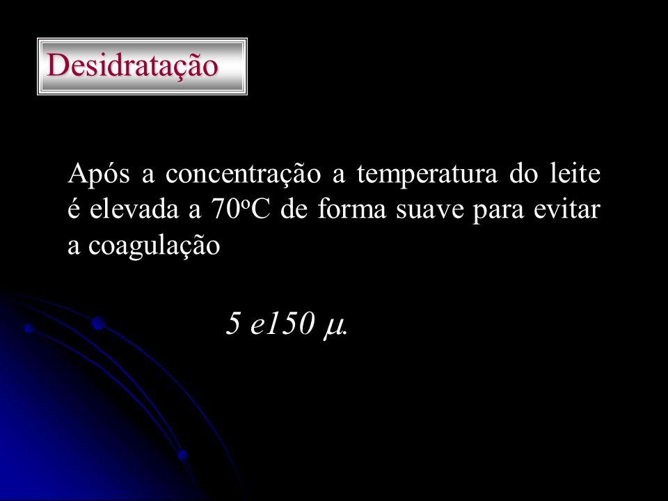 Desidratação Após a concentração a temperatura do leite é elevada a 70 o C de forma suave para evitar a coagulação 5 e150.