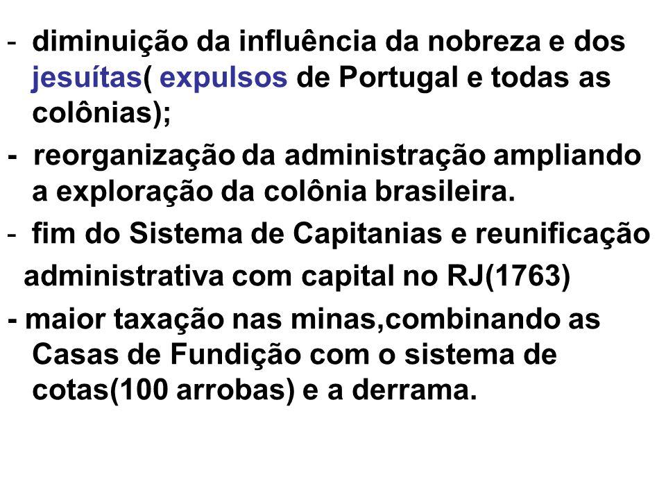 -diminuição da influência da nobreza e dos jesuítas( expulsos de Portugal e todas as colônias); - reorganização da administração ampliando a exploraçã