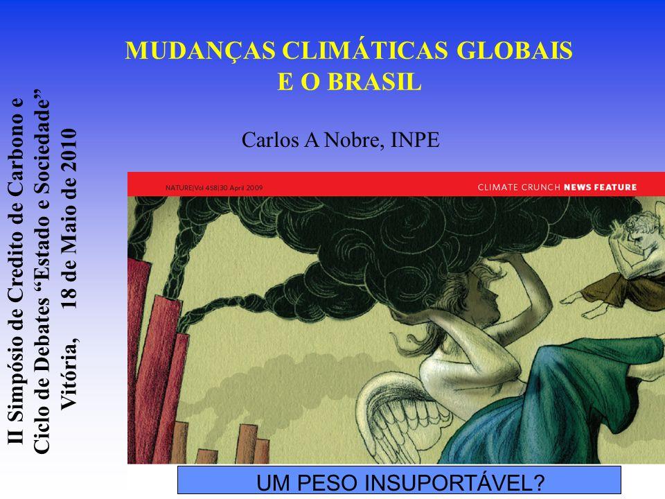MUDANÇAS CLIMÁTICAS GLOBAIS E O BRASIL Carlos A Nobre, INPE UM PESO INSUPORTÁVEL? II Simpósio de Credito de Carbono e Ciclo de Debates Estado e Socied
