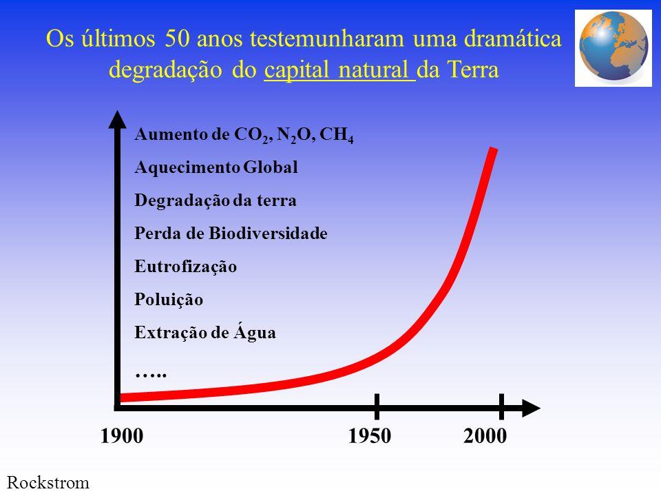 Aumento de CO 2, N 2 O, CH 4 Aquecimento Global Degradação da terra Perda de Biodiversidade Eutrofização Poluição Extração de Água ….. 1900 1950 2000