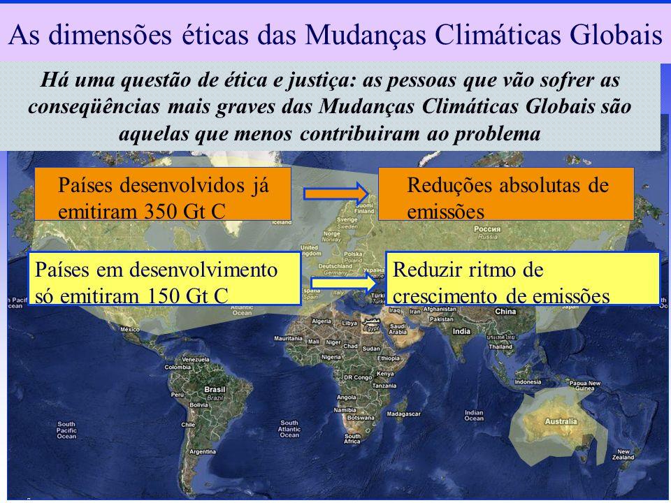 As dimensões éticas das Mudanças Climáticas Globais Há uma questão de ética e justiça: as pessoas que vão sofrer as conseqüências mais graves das Muda