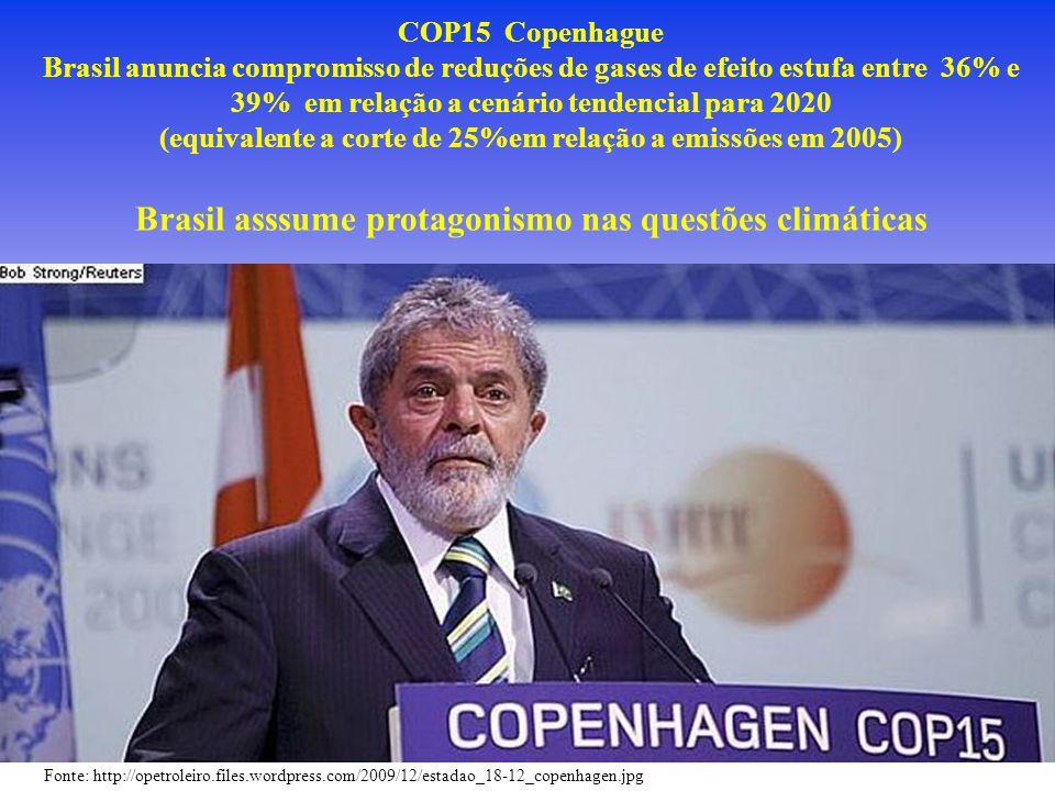 Fonte: http://opetroleiro.files.wordpress.com/2009/12/estadao_18-12_copenhagen.jpg COP15 Copenhague Brasil anuncia compromisso de reduções de gases de