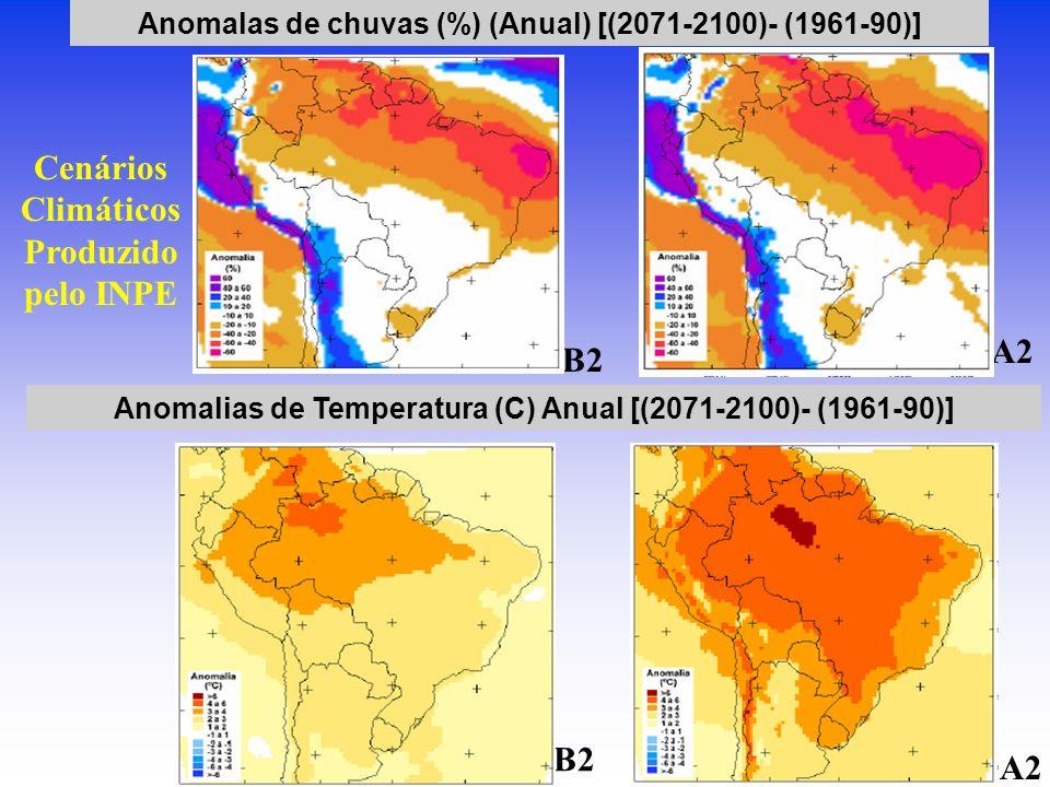 Anomalas de chuvas (%) (Anual) [(2071-2100)- (1961-90)] Anomalias de Temperatura (C) Anual [(2071-2100)- (1961-90)] Seco Quente B2 A2 Cenários Climáti