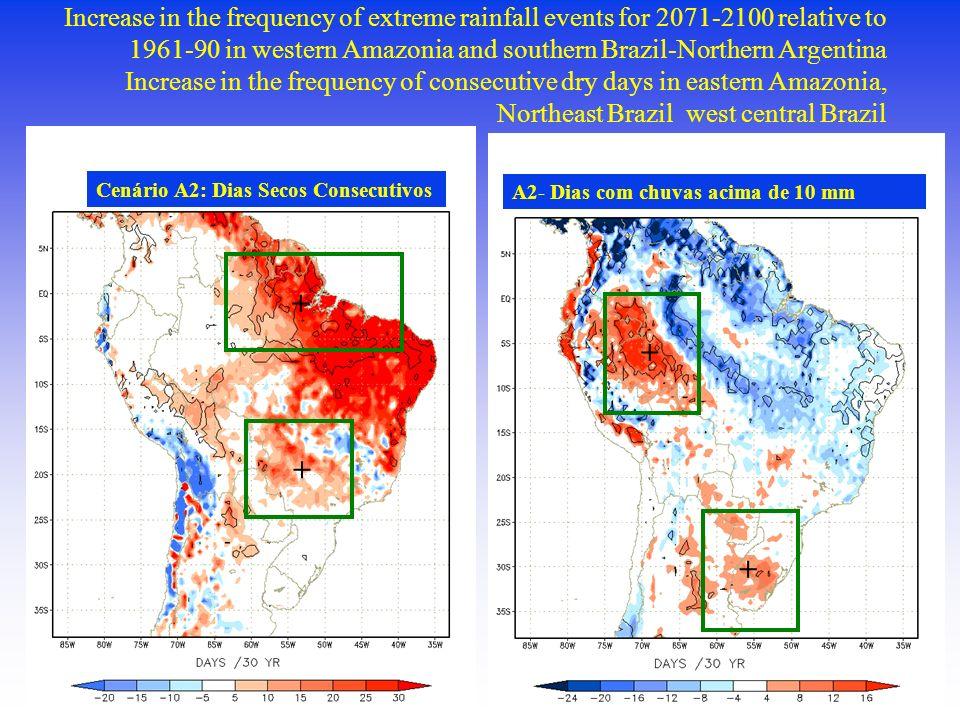 A2- Dias com chuvas acima de 10 mm + + Cenário A2: Dias Secos Consecutivos + + Increase in the frequency of extreme rainfall events for 2071-2100 rela