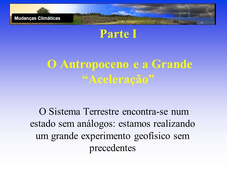 Parte I O Antropoceno e a Grande Aceleração O Sistema Terrestre encontra-se num estado sem análogos: estamos realizando um grande experimento geofísic