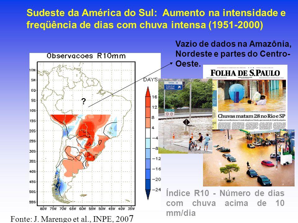 Sudeste da América do Sul: Aumento na intensidade e freqüência de dias com chuva intensa (1951-2000) Índice R10 - Número de dias com chuva acima de 10