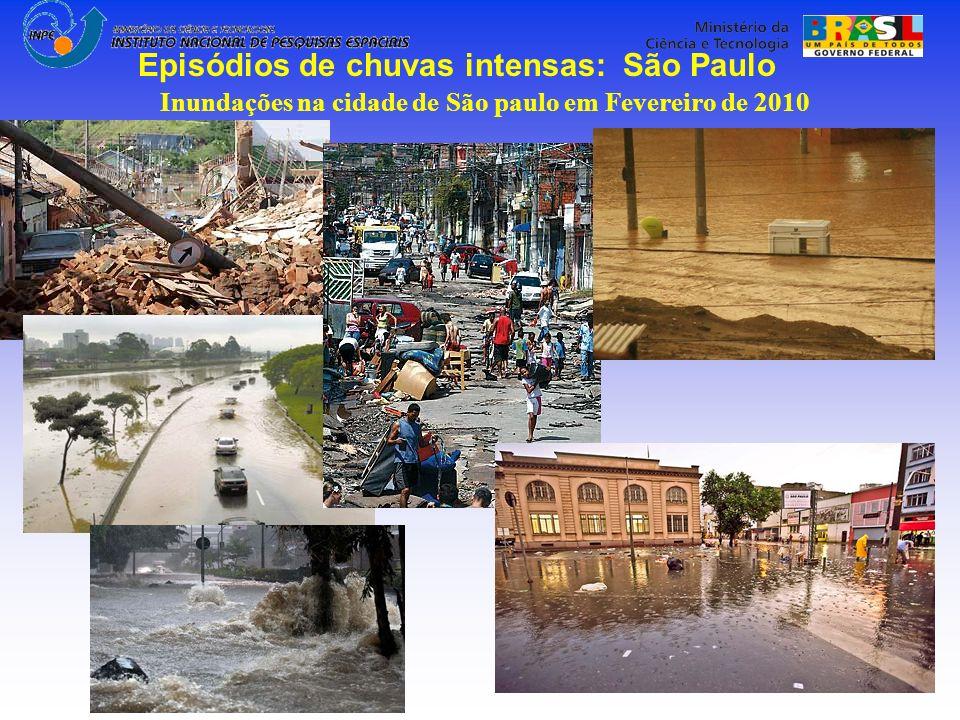 Inundações na cidade de São paulo em Fevereiro de 2010 Episódios de chuvas intensas: São Paulo