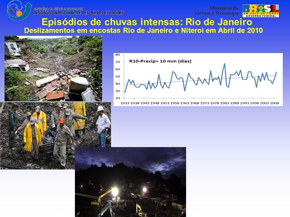 Deslizamentos em encostas Rio de Janeiro e Niteroi em Abril de 2010 Episódios de chuvas intensas: Rio de Janeiro