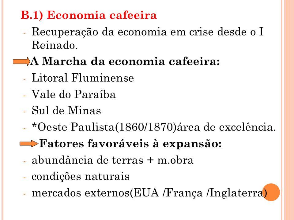 B.1) Economia cafeeira - Recuperação da economia em crise desde o I Reinado. A Marcha da economia cafeeira: - Litoral Fluminense - Vale do Paraíba - S