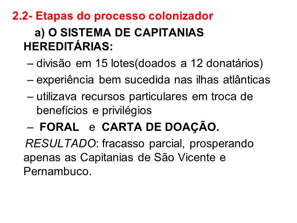 2.2- Etapas do processo colonizador a) O SISTEMA DE CAPITANIAS HEREDITÁRIAS: –divisão em 15 lotes(doados a 12 donatários) –experiência bem sucedida na