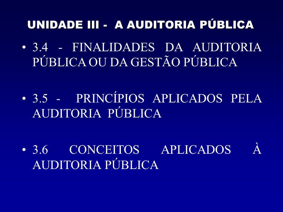 UNIDADE III - A AUDITORIA PÚBLICA 3.4 - FINALIDADES DA AUDITORIA PÚBLICA OU DA GESTÃO PÚBLICA a) Finalidade Primordial – (FONTE, ORIGEM, PRINCÍPIO) b) Finalidade Básica –(FUNDAMENTAL, BASILAR) c) Finalidade Precípua –(PRINCIPAL, ESSENCIAL)