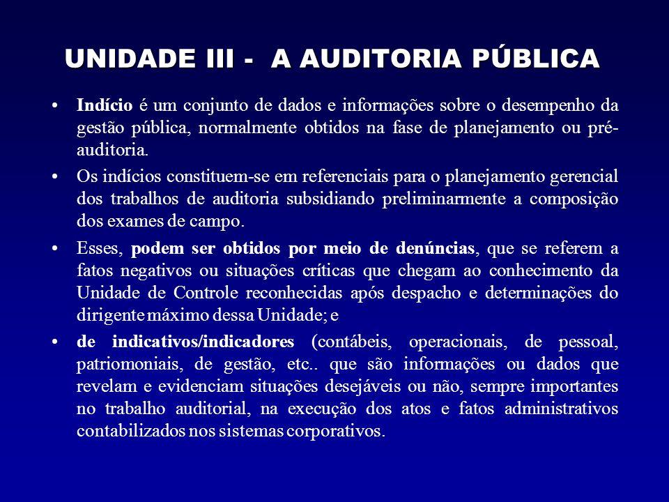 UNIDADE III - A AUDITORIA PÚBLICA Indício é um conjunto de dados e informações sobre o desempenho da gestão pública, normalmente obtidos na fase de pl