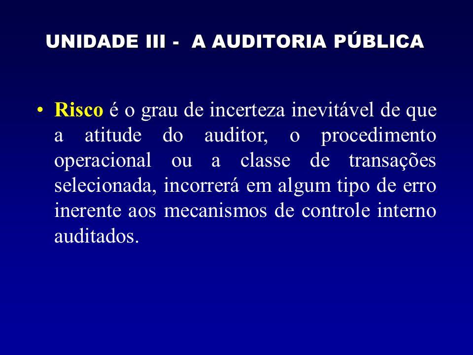 UNIDADE III - A AUDITORIA PÚBLICA Risco é o grau de incerteza inevitável de que a atitude do auditor, o procedimento operacional ou a classe de transa