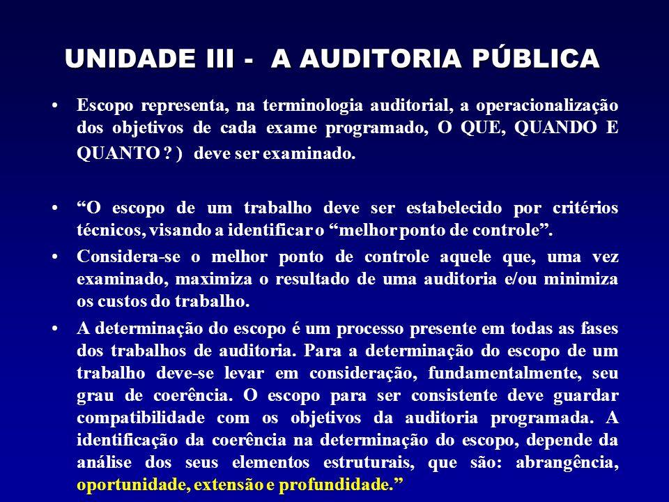 UNIDADE III - A AUDITORIA PÚBLICA Escopo representa, na terminologia auditorial, a operacionalização dos objetivos de cada exame programado, O QUE, QU