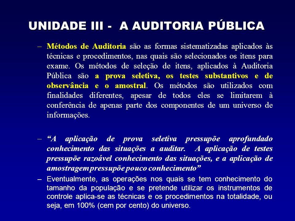 UNIDADE III - A AUDITORIA PÚBLICA –Métodos de Auditoria são as formas sistematizadas aplicados às técnicas e procedimentos, nas quais são selecionados