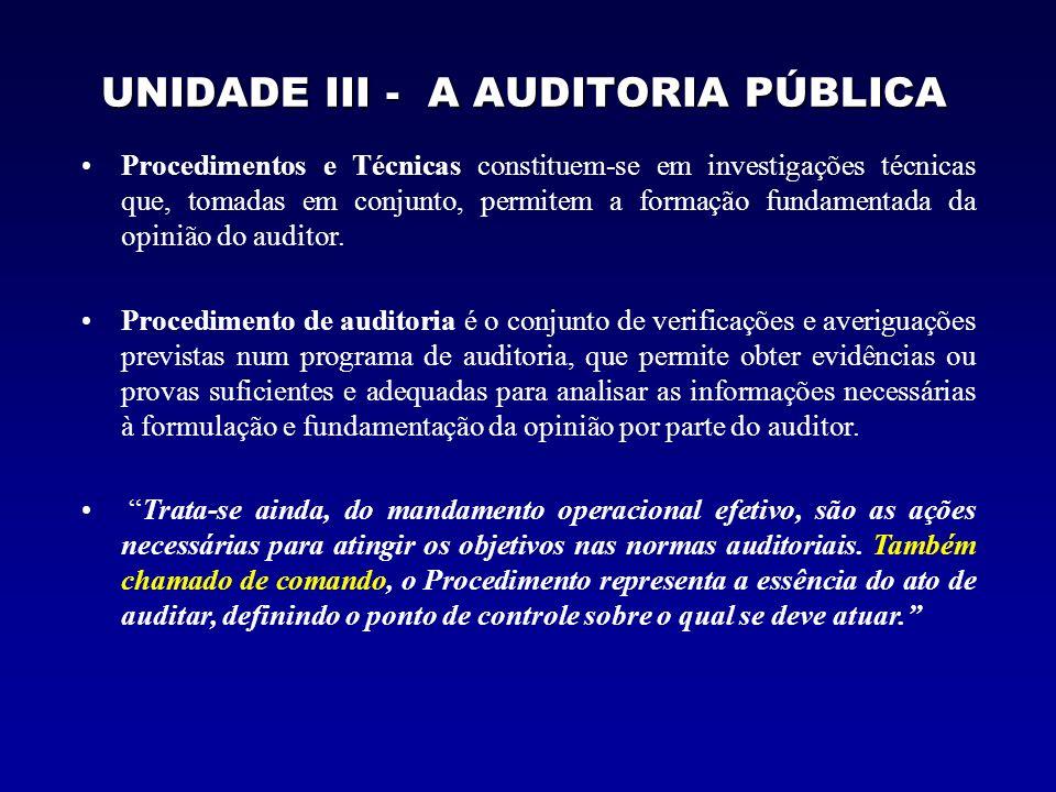 UNIDADE III - A AUDITORIA PÚBLICA Procedimentos e Técnicas constituem-se em investigações técnicas que, tomadas em conjunto, permitem a formação funda
