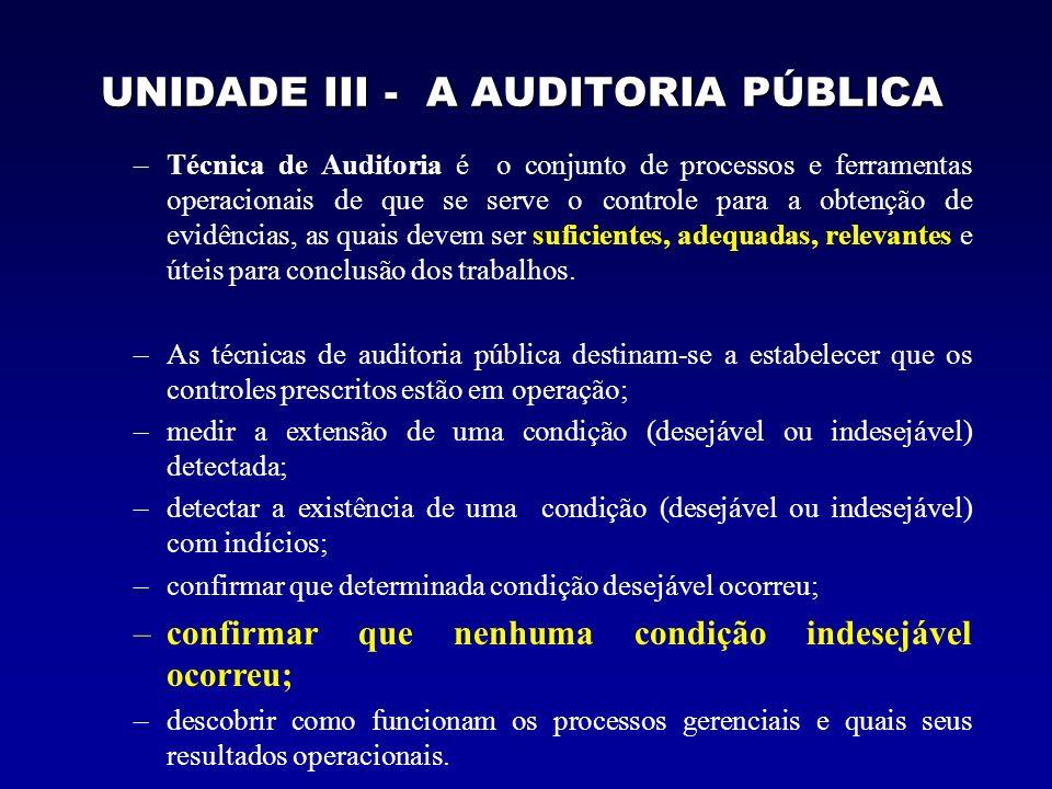 UNIDADE III - A AUDITORIA PÚBLICA –Técnica de Auditoria é o conjunto de processos e ferramentas operacionais de que se serve o controle para a obtençã