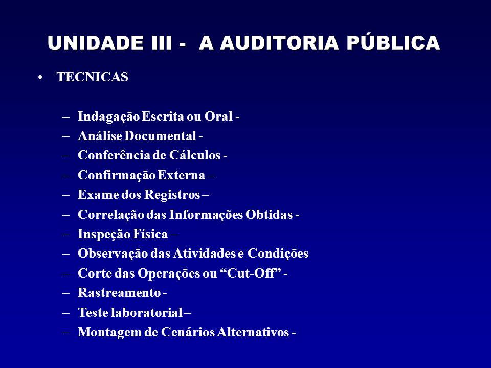 UNIDADE III - A AUDITORIA PÚBLICA TECNICAS –Indagação Escrita ou Oral - –Análise Documental - –Conferência de Cálculos - –Confirmação Externa – –Exame