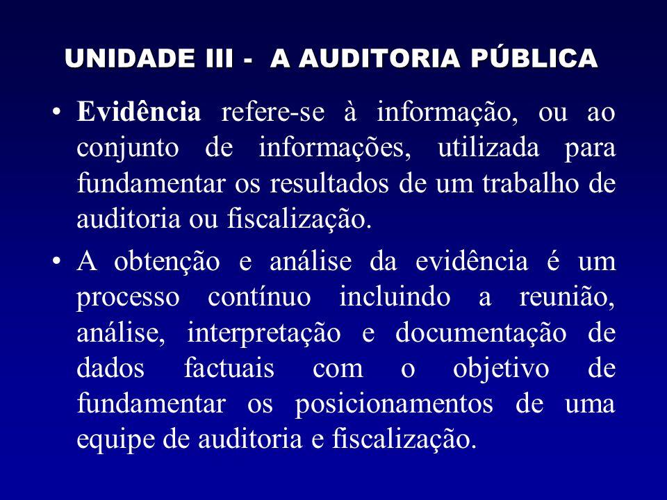 UNIDADE III - A AUDITORIA PÚBLICA Evidência refere-se à informação, ou ao conjunto de informações, utilizada para fundamentar os resultados de um trab