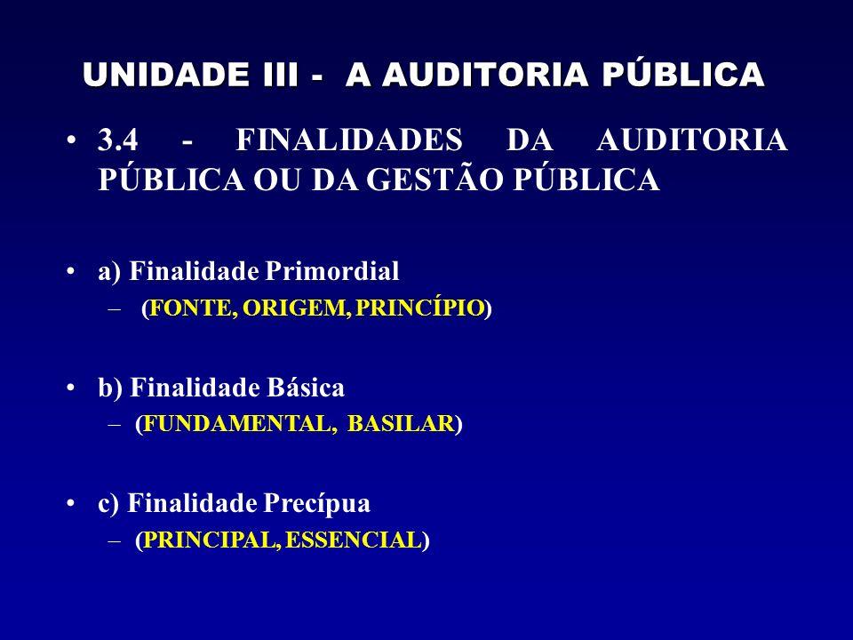 UNIDADE III - A AUDITORIA PÚBLICA 3.4 - FINALIDADES DA AUDITORIA PÚBLICA OU DA GESTÃO PÚBLICA a) Finalidade Primordial – (FONTE, ORIGEM, PRINCÍPIO) b)