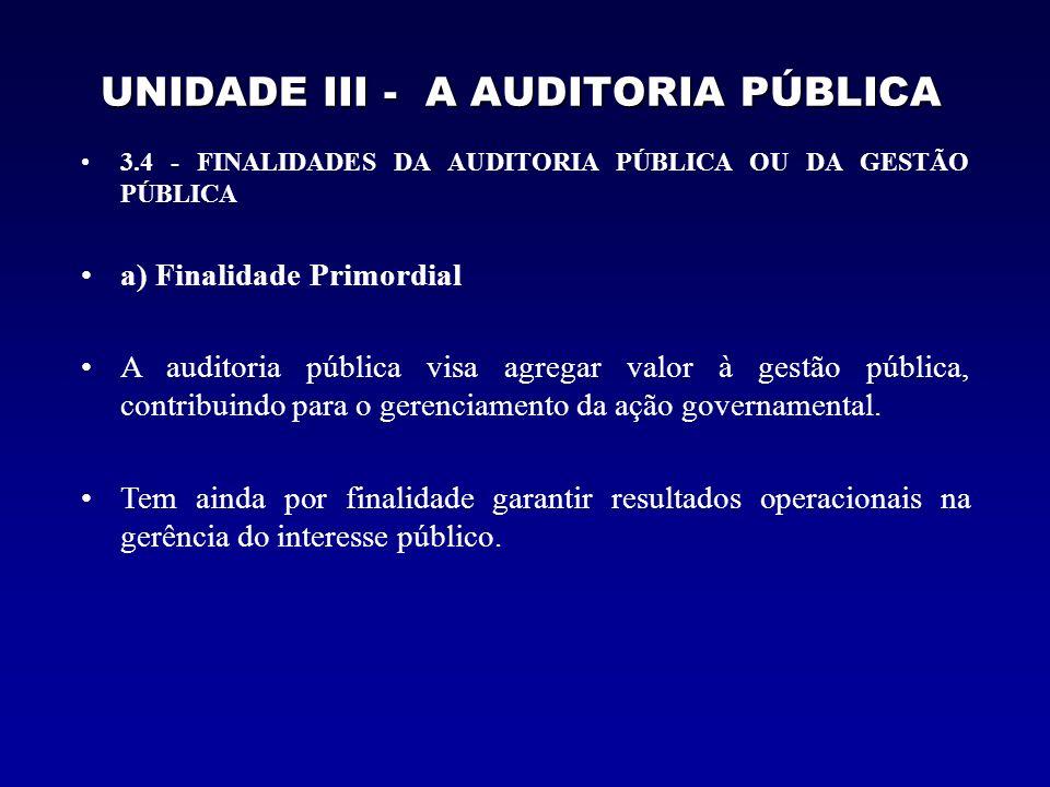 UNIDADE III - A AUDITORIA PÚBLICA 3.4 - FINALIDADES DA AUDITORIA PÚBLICA OU DA GESTÃO PÚBLICA b) Finalidade Básica A finalidade básica da auditoria pública, considerando o contexto de sua atuação sobre a gestão de recursos públicos, pode ser resumida da seguinte forma: –Avaliar a ação governamental; –Avaliar a gestão dos administradores públicos federais; e –Avaliar a aplicação de recursos públicos por entidades de direitos privados.