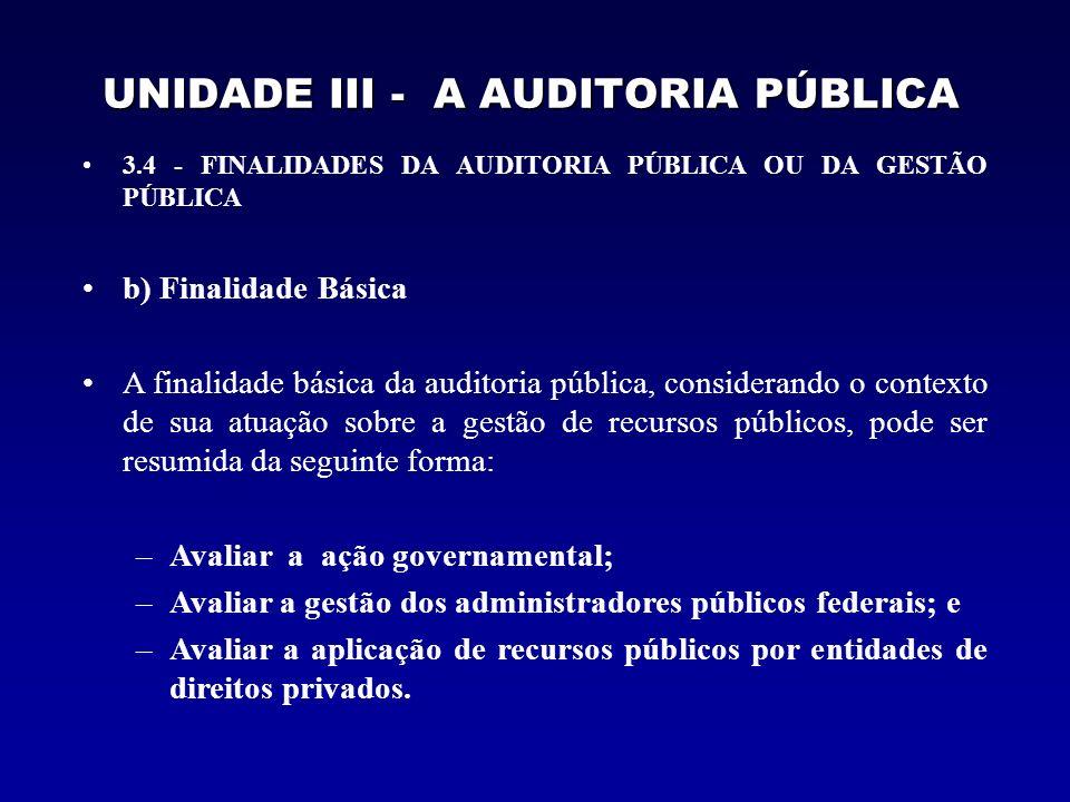UNIDADE III - A AUDITORIA PÚBLICA o fundamental é descrever o que se deve fazer, ou seja, como deve ser o exame.