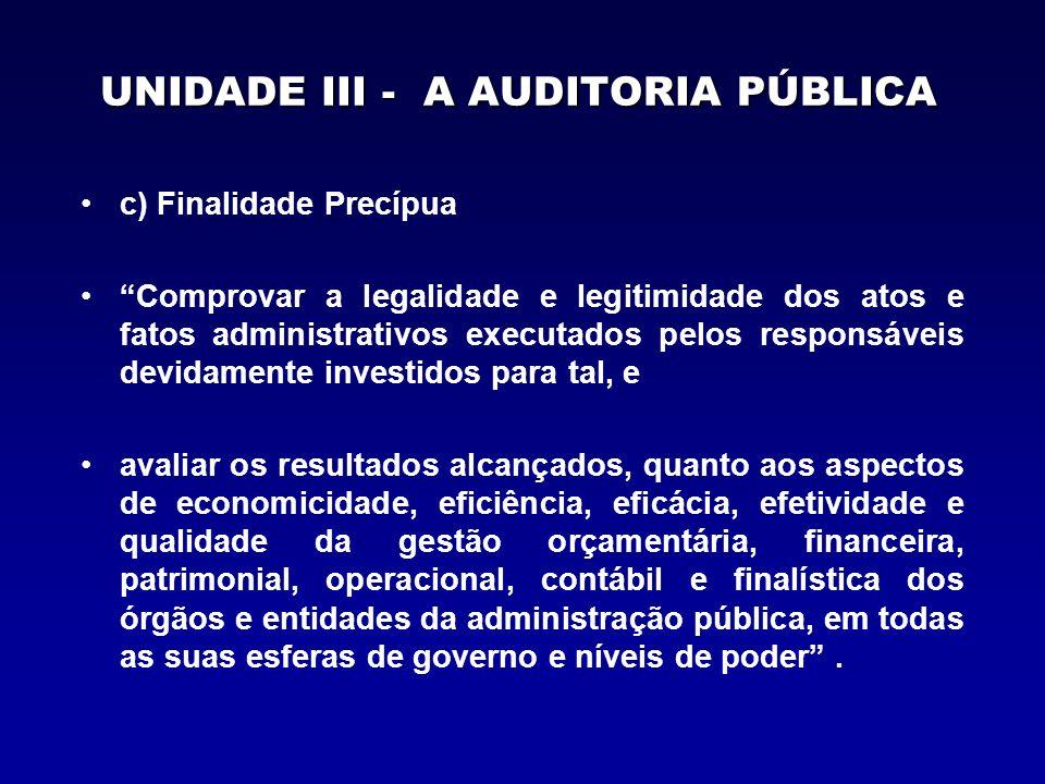UNIDADE III - A AUDITORIA PÚBLICA c) Finalidade Precípua Comprovar a legalidade e legitimidade dos atos e fatos administrativos executados pelos respo