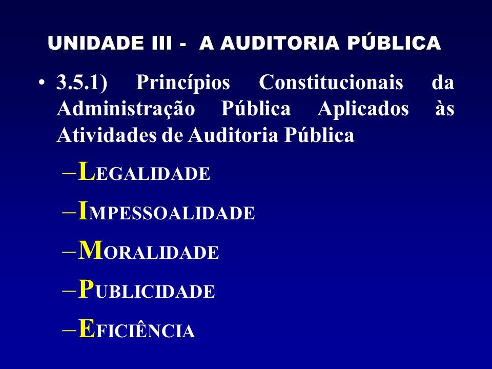 UNIDADE III - A AUDITORIA PÚBLICA 3.5.2) Princípios Gerais de Auditoria a) Princípio do Planejamento dos Trabalhos b) Princípio da Evidência dos Fatos c) Princípio da Documentação dos Trabalhos d) Princípio da Confidencialidade