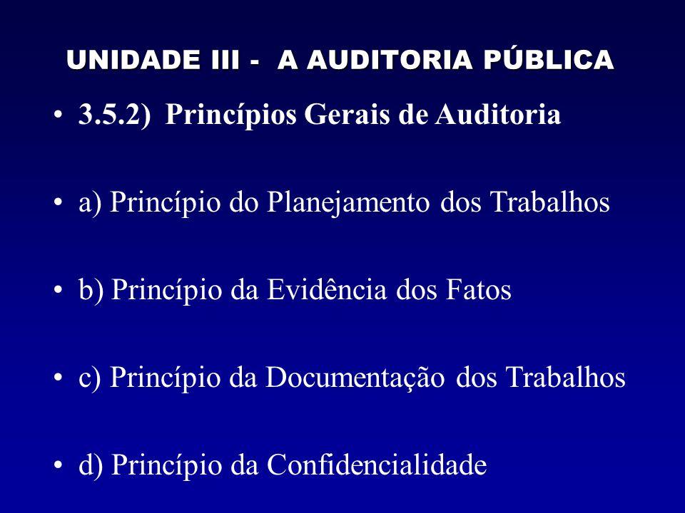 UNIDADE III - A AUDITORIA PÚBLICA 3.5.2) Princípios Gerais de Auditoria a) Princípio do Planejamento dos Trabalhos b) Princípio da Evidência dos Fatos