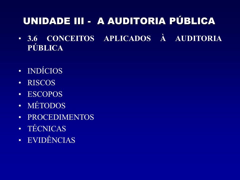 UNIDADE III - A AUDITORIA PÚBLICA Indício é um conjunto de dados e informações sobre o desempenho da gestão pública, normalmente obtidos na fase de planejamento ou pré- auditoria.