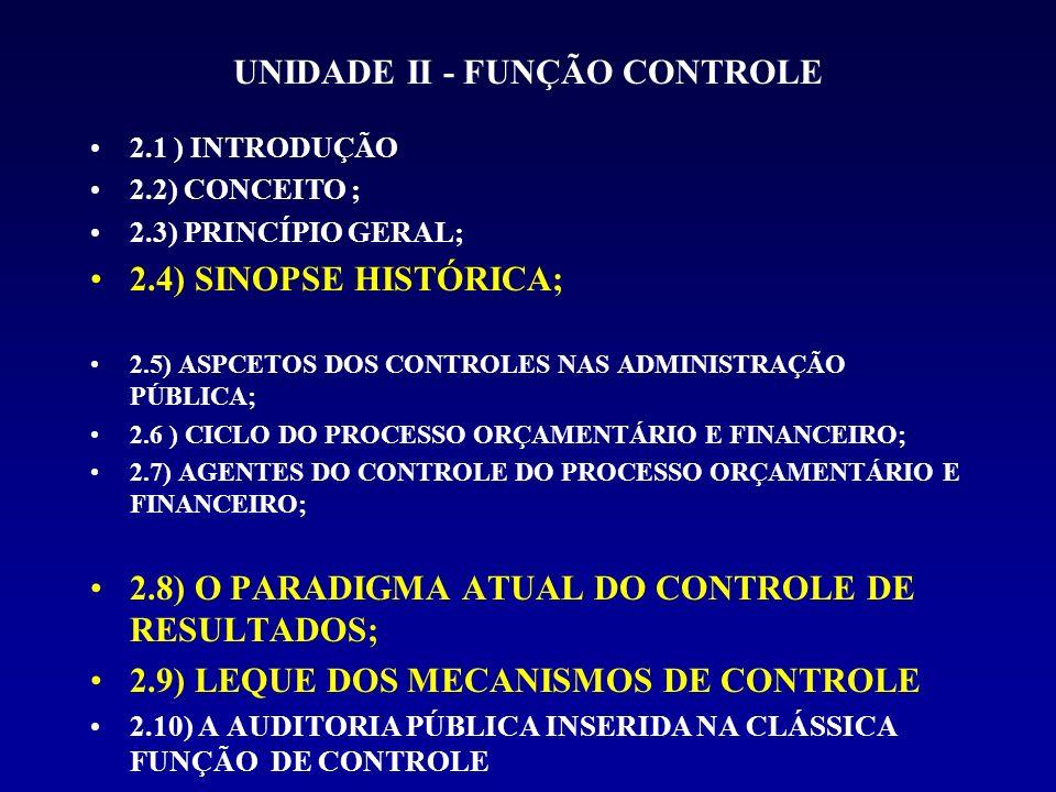 UNIDADE II - FUNÇÃO CONTROLE 2.1 ) INTRODUÇÃO 2.2) CONCEITO ; 2.3) PRINCÍPIO GERAL; 2.4) SINOPSE HISTÓRICA; 2.5) ASPCETOS DOS CONTROLES NAS ADMINISTRAÇÃO PÚBLICA; 2.6 ) CICLO DO PROCESSO ORÇAMENTÁRIO E FINANCEIRO; 2.7) AGENTES DO CONTROLE DO PROCESSO ORÇAMENTÁRIO E FINANCEIRO; 2.8) O PARADIGMA ATUAL DO CONTROLE DE RESULTADOS; 2.9) LEQUE DOS MECANISMOS DE CONTROLE 2.10) A AUDITORIA PÚBLICA INSERIDA NA CLÁSSICA FUNÇÃO DE CONTROLE