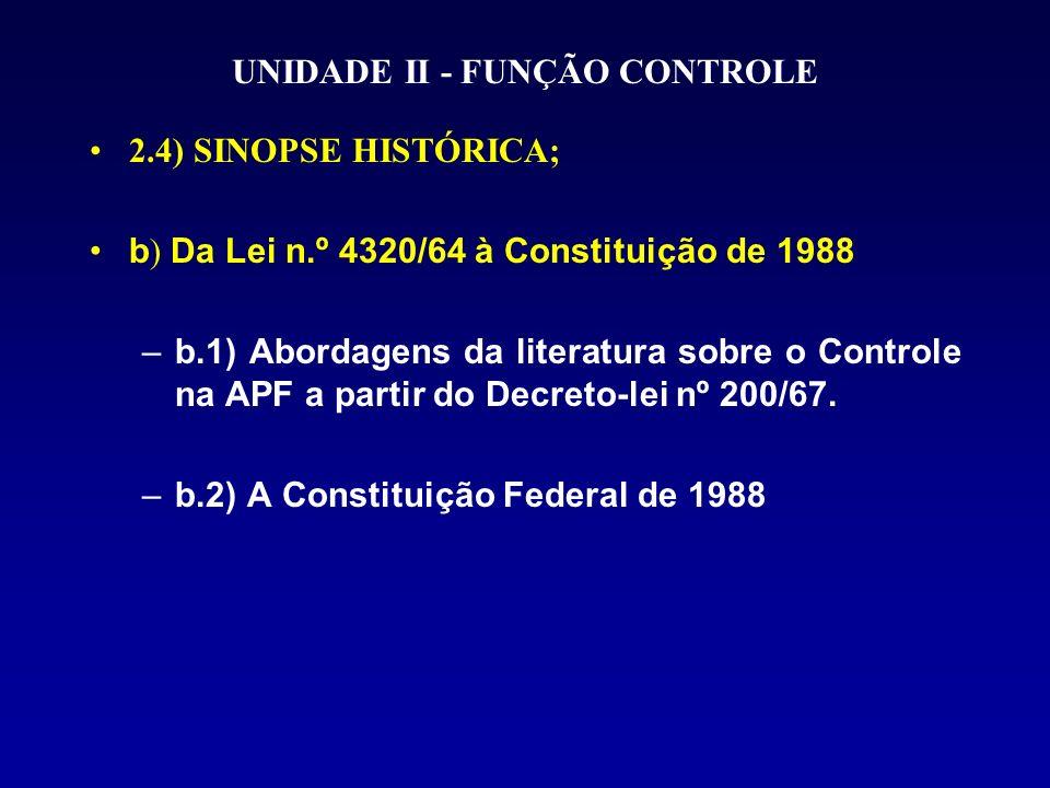 UNIDADE II - FUNÇÃO CONTROLE 2.4) SINOPSE HISTÓRICA; b ) Da Lei n.º 4320/64 à Constituição de 1988 –b.1) Abordagens da literatura sobre o Controle na APF a partir do Decreto-lei nº 200/67.