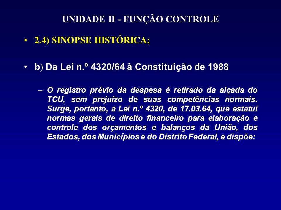 UNIDADE II - FUNÇÃO CONTROLE 2.4) SINOPSE HISTÓRICA; b ) Da Lei n.º 4320/64 à Constituição de 1988 –O registro prévio da despesa é retirado da alçada do TCU, sem prejuízo de suas competências normais.