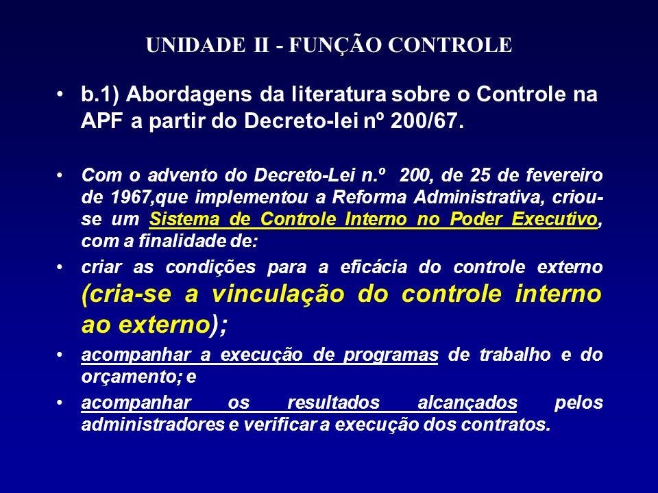 UNIDADE II - FUNÇÃO CONTROLE b.1) Abordagens da literatura sobre o Controle na APF a partir do Decreto-lei nº 200/67.