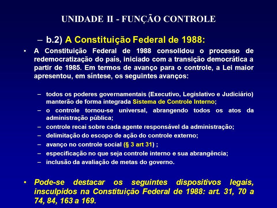 UNIDADE II - FUNÇÃO CONTROLE –b.2) A Constituição Federal de 1988: A Constituição Federal de 1988 consolidou o processo de redemocratização do país, iniciado com a transição democrática a partir de 1985.