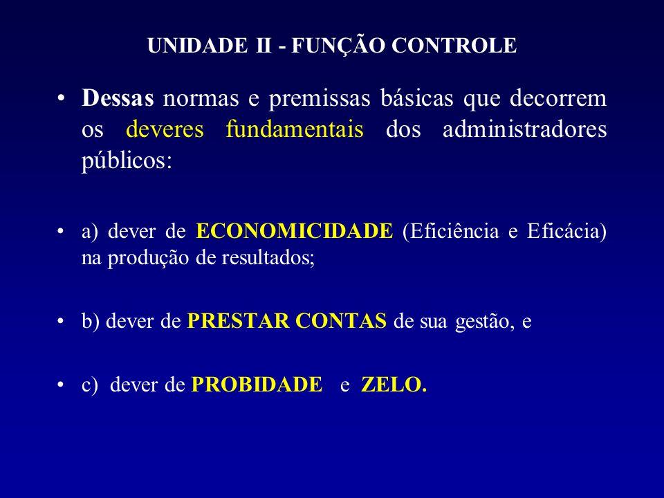 UNIDADE II - FUNÇÃO CONTROLE Dessas normas e premissas básicas que decorrem os deveres fundamentais dos administradores públicos: a) dever de ECONOMICIDADE (Eficiência e Eficácia) na produção de resultados; b) dever de PRESTAR CONTAS de sua gestão, e c) dever de PROBIDADE e ZELO.