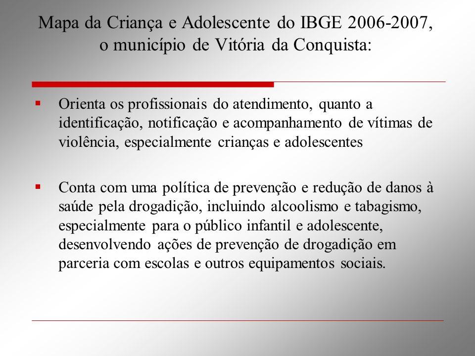 Mapa da Criança e Adolescente do IBGE 2006-2007, o município de Vitória da Conquista: Orienta os profissionais do atendimento, quanto a identificação,
