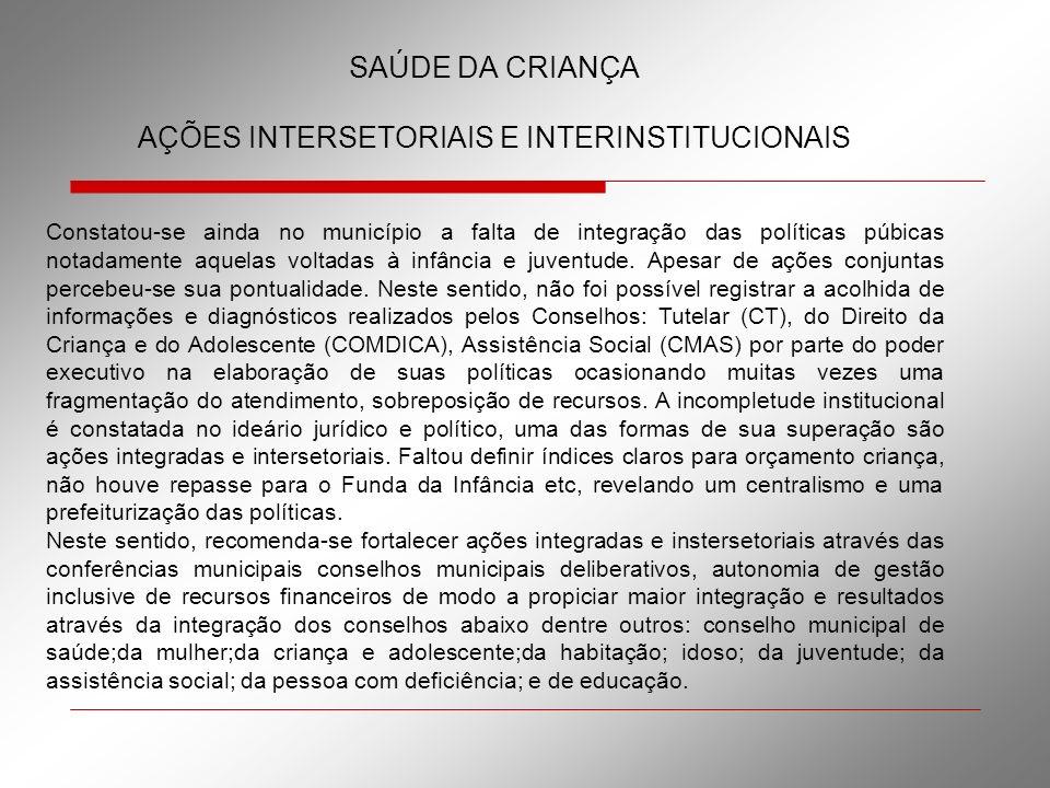 SAÚDE DA CRIANÇA AÇÕES INTERSETORIAIS E INTERINSTITUCIONAIS Constatou-se ainda no município a falta de integração das políticas púbicas notadamente aq