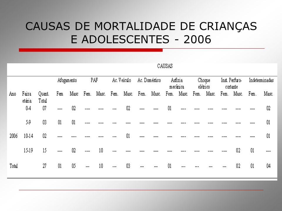 CAUSAS DE MORTALIDADE DE CRIANÇAS E ADOLESCENTES - 2006