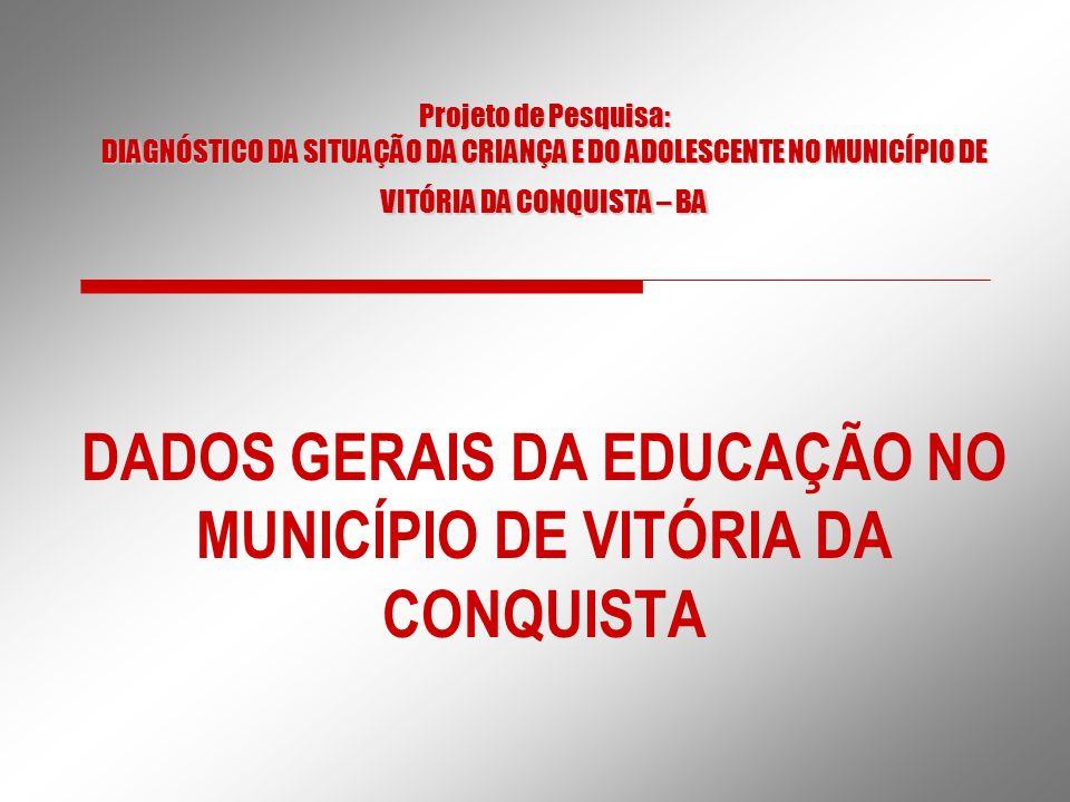 Projeto de Pesquisa: DIAGNÓSTICO DA SITUAÇÃO DA CRIANÇA E DO ADOLESCENTE NO MUNICÍPIO DE VITÓRIA DA CONQUISTA – BA DADOS GERAIS DA EDUCAÇÃO NO MUNICÍP