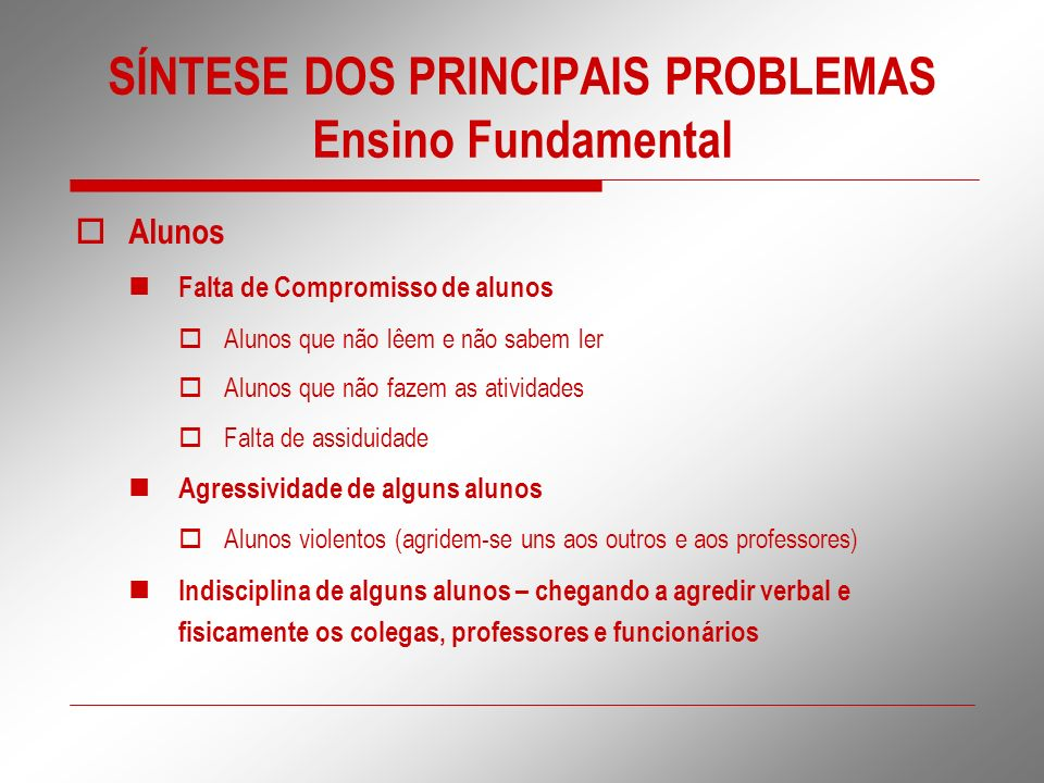 SÍNTESE DOS PRINCIPAIS PROBLEMAS Ensino Fundamental Alunos Falta de Compromisso de alunos Alunos que não lêem e não sabem ler Alunos que não fazem as