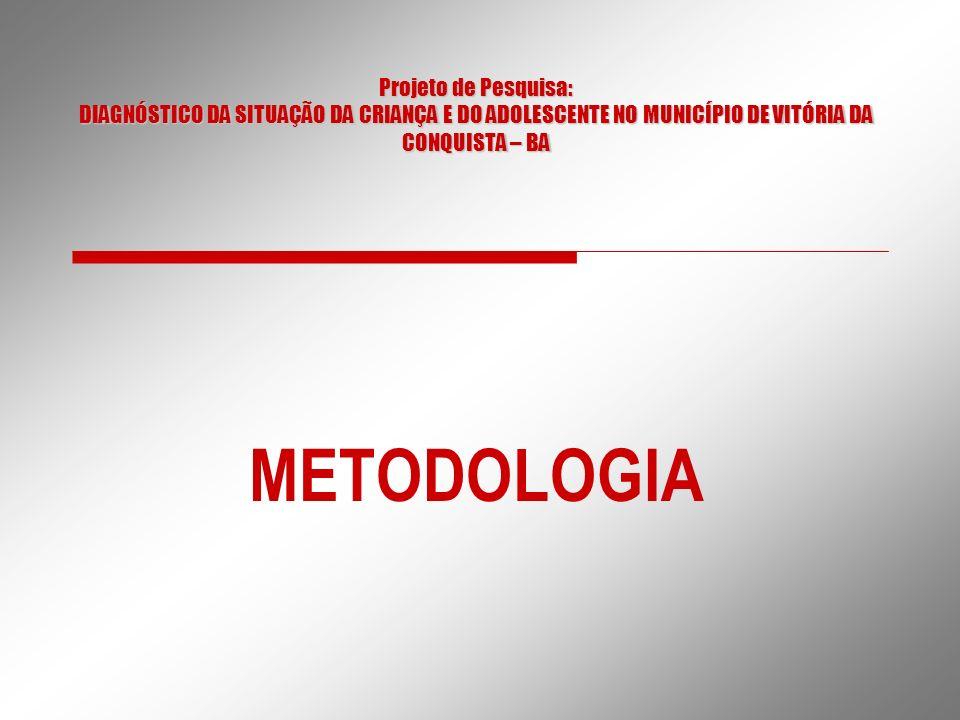 Projeto de Pesquisa: DIAGNÓSTICO DA SITUAÇÃO DA CRIANÇA E DO ADOLESCENTE NO MUNICÍPIO DE VITÓRIA DA CONQUISTA – BA METODOLOGIA