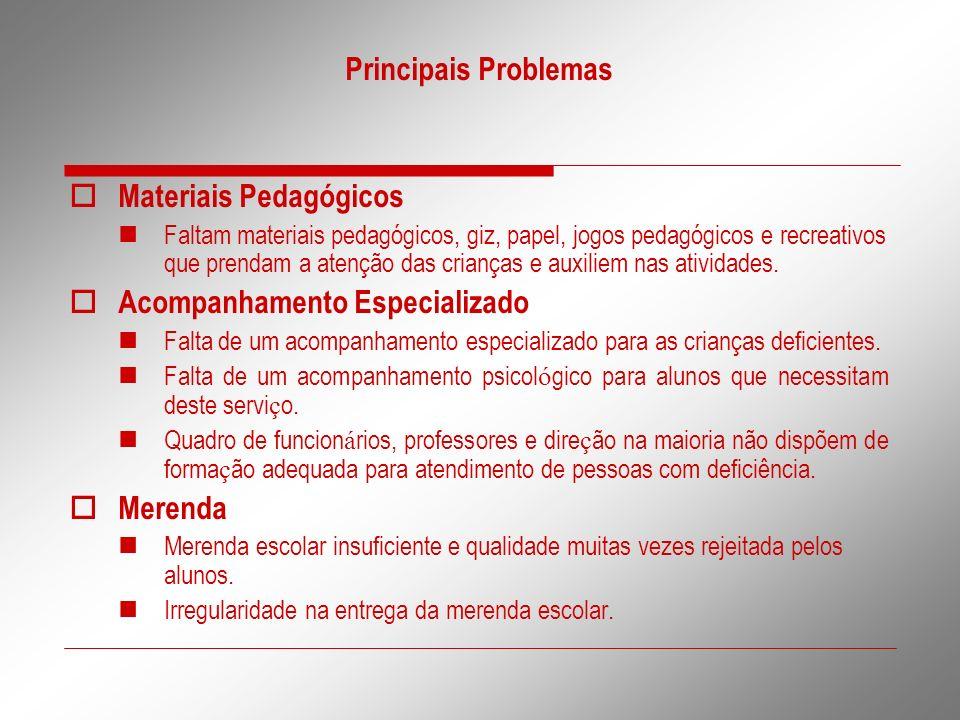 Principais Problemas Materiais Pedagógicos Faltam materiais pedagógicos, giz, papel, jogos pedagógicos e recreativos que prendam a atenção das criança