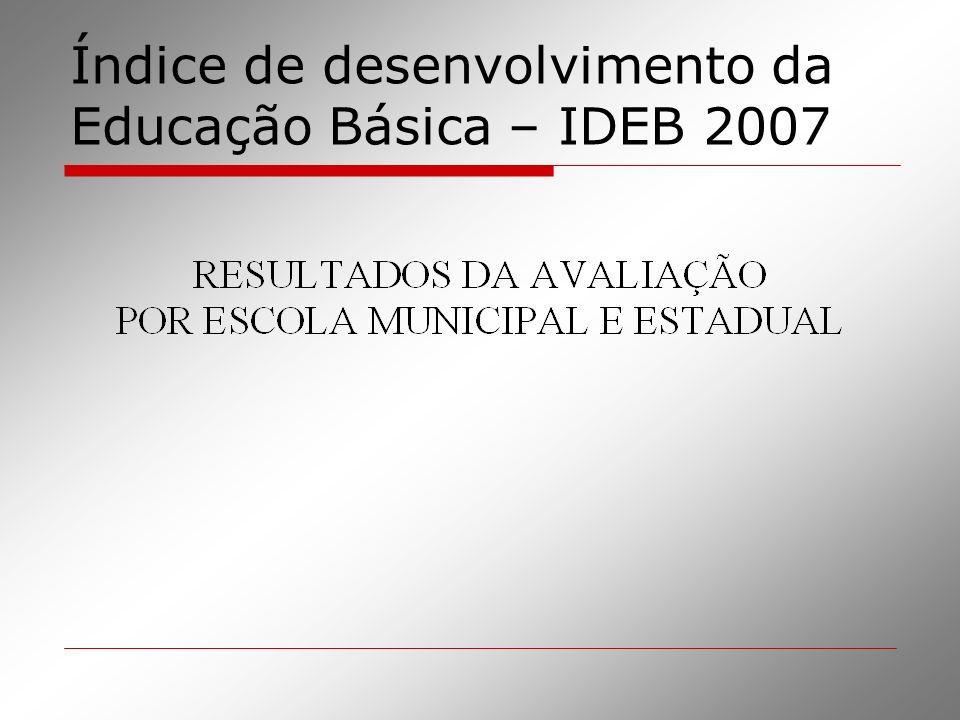Índice de desenvolvimento da Educação Básica – IDEB 2007
